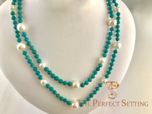 Load image into Gallery viewer, Turquoise and Cultured Pearl Necklace