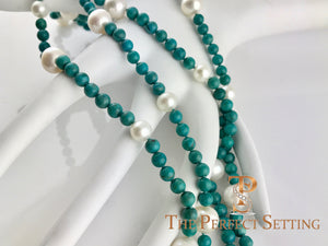 Turquoise and Cultured Pearl Necklace