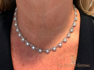 Diamond Eternity Link Necklace on neck