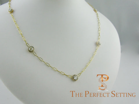 vintage diamond bezel set necklace