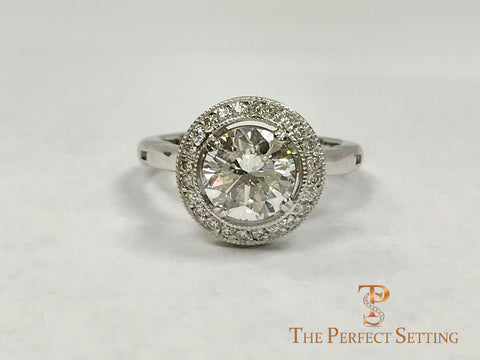 Vintage Halo Diamond Ring with Adjustable Shank for Arthritis and Arthritic Fingers