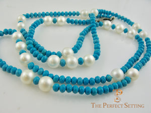 Diamond Cut Turquoise  and Large Pearl Necklace with Modern Diamond Clasp
