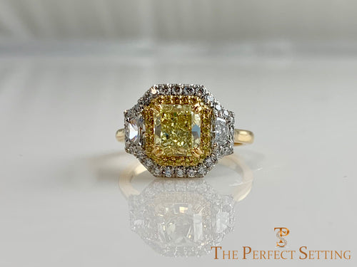 Yellow Fancy Cushion Diamond double halo 3 stone custom ring