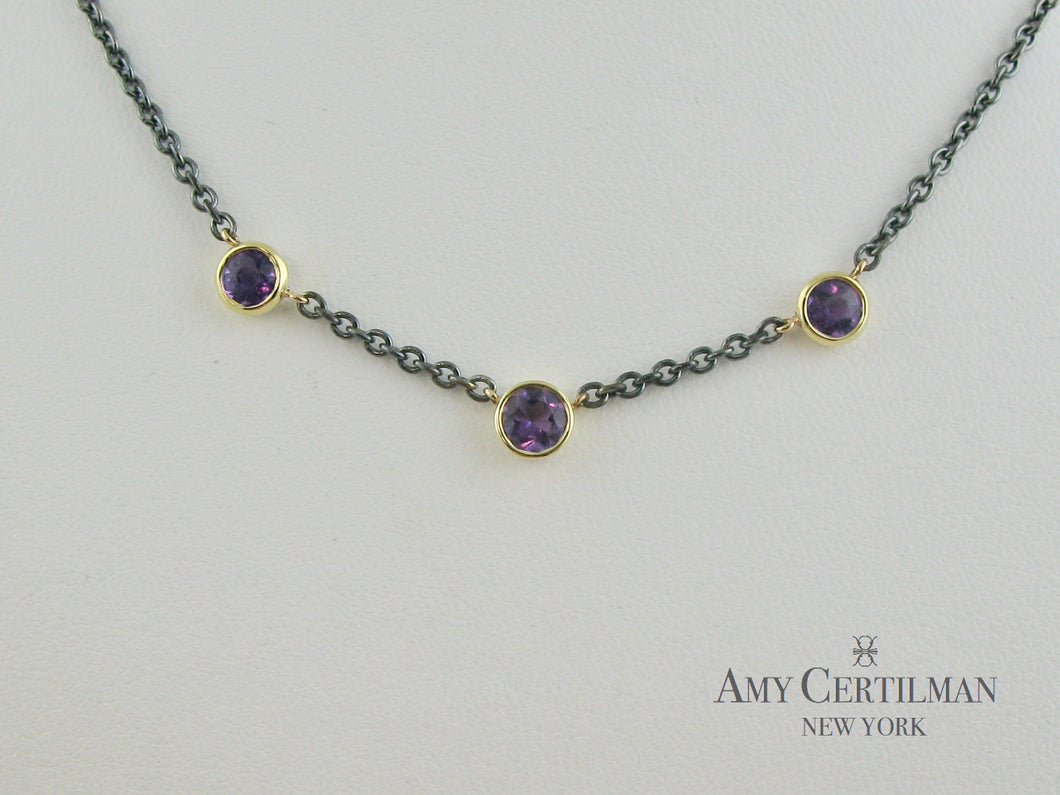 Amethyst Bezel Set 18K Yellow Gold Oxidized Chain