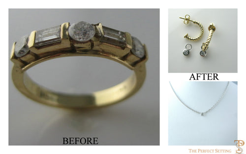 Resetting - Unworn Wedding Ring becomes earrings and necklace