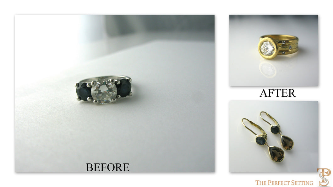 Resetting Three Stone Engagement Ring to Topaz and Sapphire Earrings