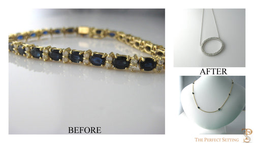 Resetting - stones from unworn tennis bracelet become two new necklaces