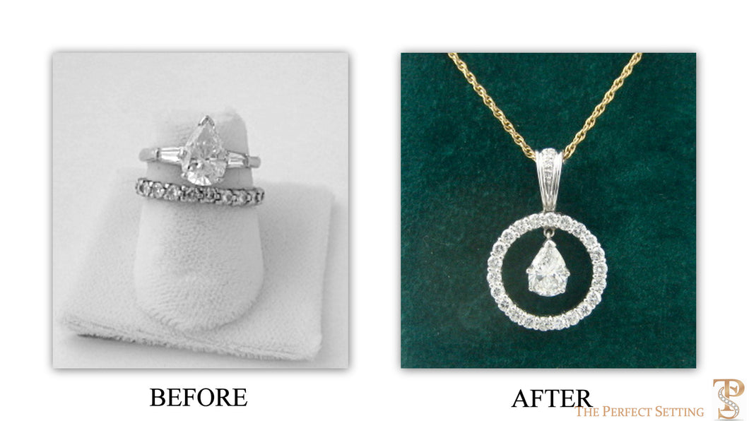 BEFORE & AFTER- since her divorce, these rings were collecting dust. We reset the diamonds from the engagement ring and eternity band into this versatile pendant with a hinged enhancer to be worn on a chain, cord and pearls.