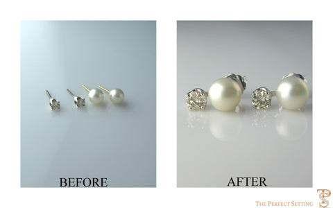 Resetting- Unworn Pearl & Diamond Earrings