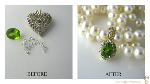 Resetting of diamond pendant and peridot