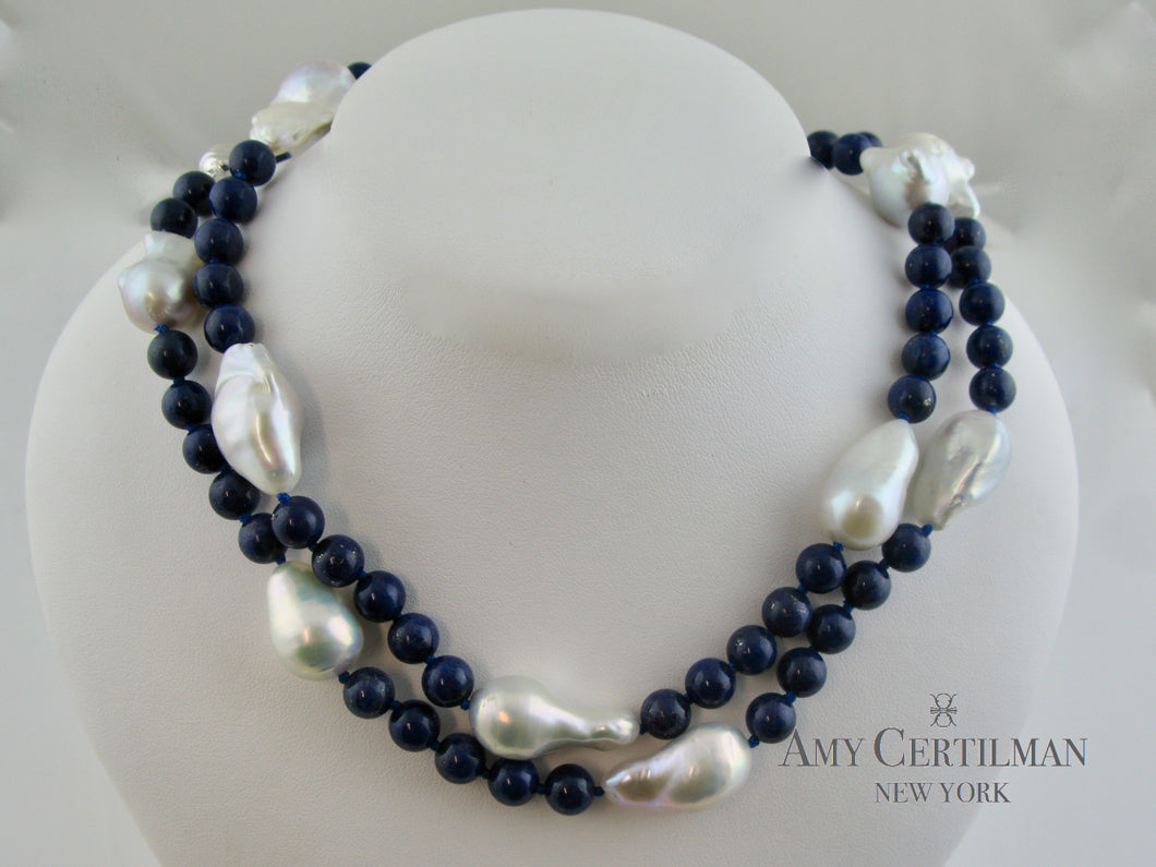 Lapis and Baroque Pearl Necklace with Magnetic Clasp