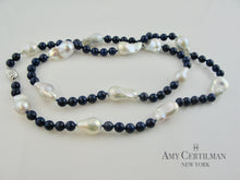 Load image into Gallery viewer, Lapis and Baroque Pearl Necklace with Magnetic Clasp