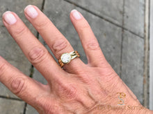 Load image into Gallery viewer, Bezel Set Diamond 18K Green Gold Custom Signature Ring on finger
