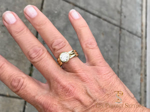 Bezel Set Diamond 18K Green Gold Custom Signature Ring on finger