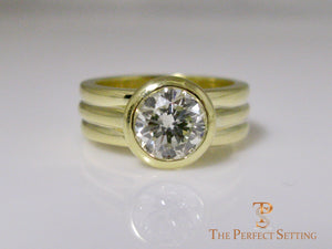 Bezel Set Diamond 18K Green Gold Custom Signature Ring front