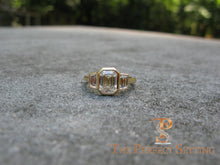 Load image into Gallery viewer, 3 Stone Emerald Cut Diamond Custom Ring Bezel Setting
