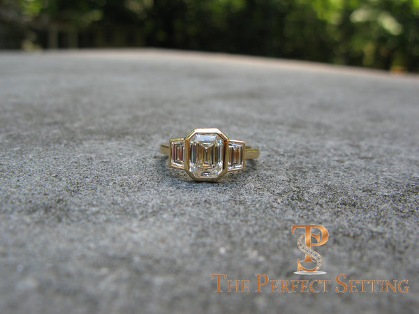 3 Stone Emerald Cut Diamond Custom Ring Bezel Setting