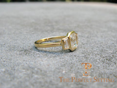 three stone emerald cut diamond custom engagement