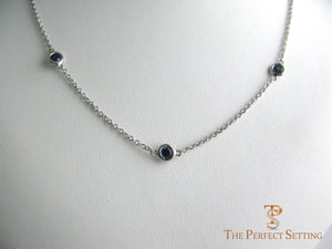 3 Stone Sapphire Necklace