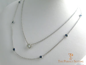 Bezel Set Sapphire Necklace with diamond bezel necklace