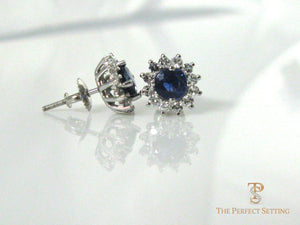 sapphire with diamond halo earrings