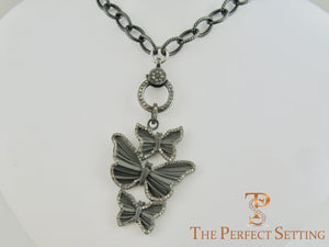 Butterfly Pendant Diamond Clasp Rocker Chain