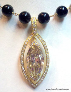 Yellow Marquise Diamond Gold setting black onyx necklace