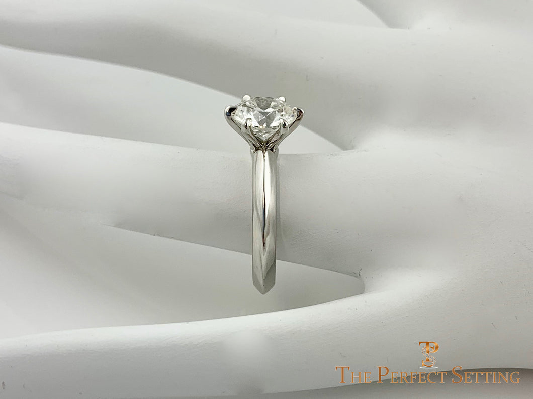 Classic 6 Prong Diamond Engagement Ring Razor Edge Shank