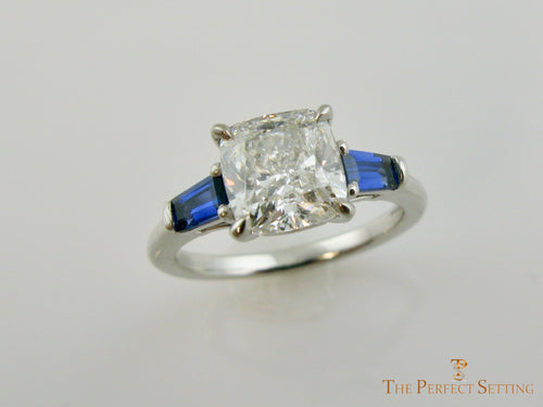 Cushion Cut Lab Diamond with Sapphire Baguettes