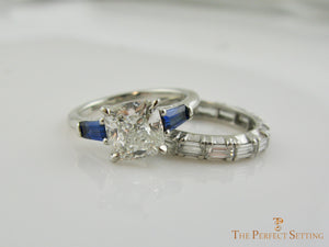Cushion Cut Lab Diamond with Sapphire Baguettes with wedding band