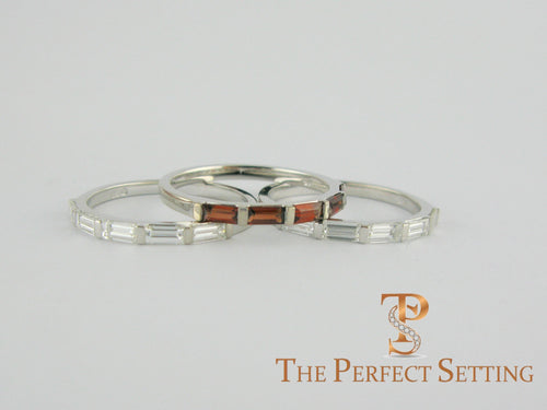 custom baquette diamond and garnet stackable wedding bands