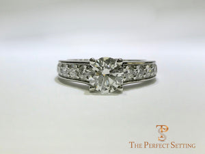 Custom Diamond Engagement Ring Bead Set Channel Setting Platinum