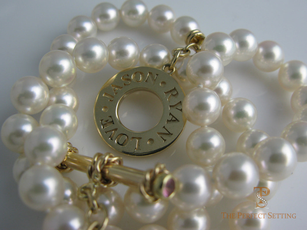 Gold Toggle with Names on Pearl Necklace