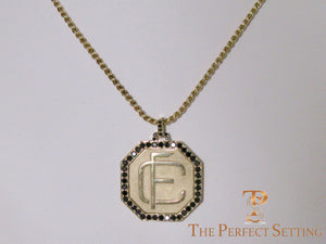 Custom Monogram Gold Pendant with Black Diamonds wheat chain