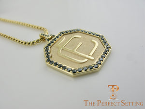 Custom Monogram Gold Pendant with Black Diamonds side view