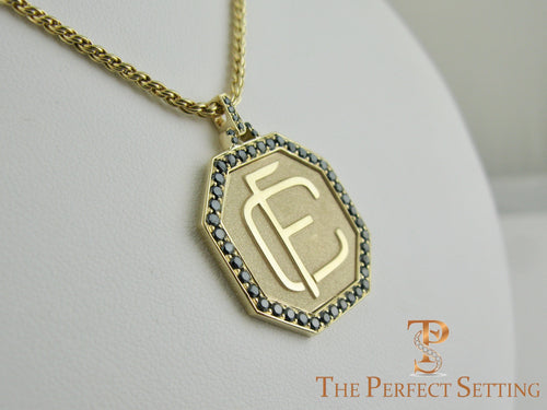 Custom Monogram Gold Pendant with Black Diamonds
