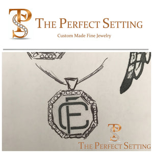 Custom Monogram Gold Pendant with Black Diamonds sketch