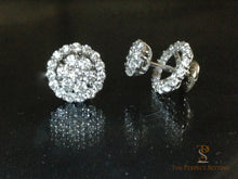 Load image into Gallery viewer, Diamond flower earrings with removable diamond halo