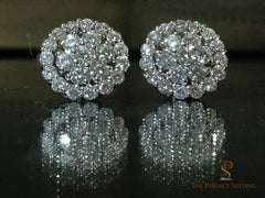 Diamond halo flower cluster earring