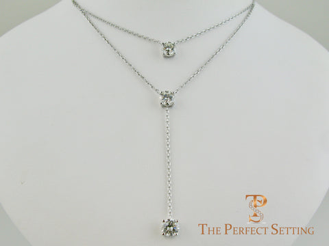 Three Stone Diamond Lariat Necklace on 18K White Gold Chain