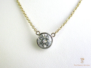Bezel Set Diamond Solitaire Necklace