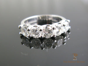 5 stone round diamond wedding band