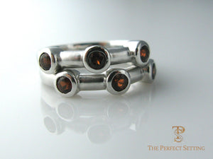 Garnet Stacking Rings White Gold