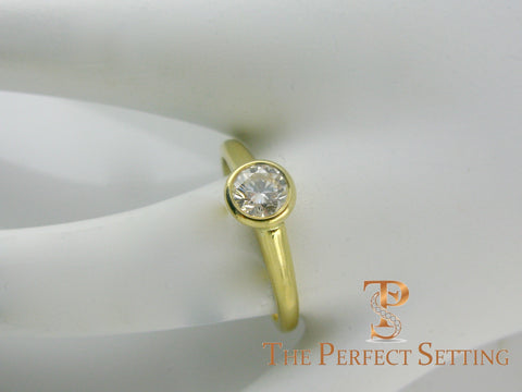 GIA certified round diamond bezel set ring