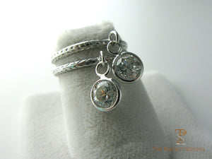 Vintage platinum rings bezel set diamonds