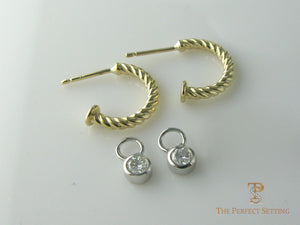 gold hoop earrings with removable diamond drop bezel set
