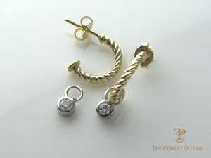 gold hoop earrings with diamond drop bezel set