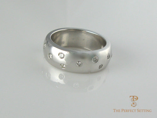 Thick Gold Band with Diamonds