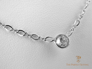 Diamond Bezel Necklace on Fancy Chain