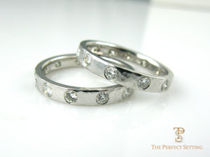 Hammered Diamond Wedding Bands